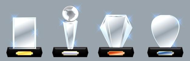 Conjunto de prêmio de troféu de vidro prêmio vetorial no vetor eps do fundo cinza gradiente