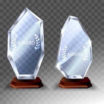 Conjunto de prêmio troféu de vidro. prêmio realista de vetor 3d em fundo transparente