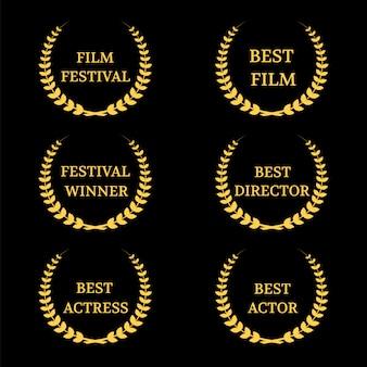 Conjunto de prêmios de filme de vetor
