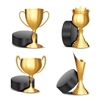Conjunto de prêmios de jogo de hóquei no gelo