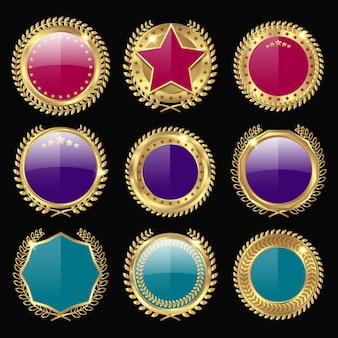 Conjunto de prêmios de medalha colorido