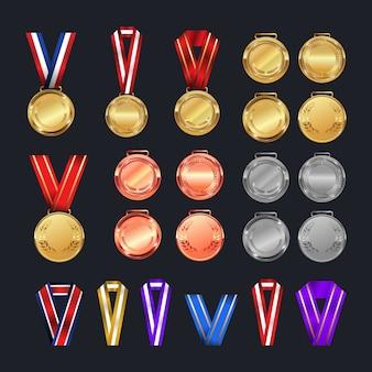 Conjunto de prêmios de medalhas. cores diferentes.