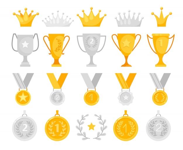 Conjunto de prêmios de ouro e prata