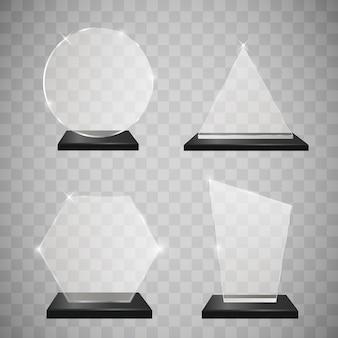 Conjunto de prêmios de troféu de vidro vazio