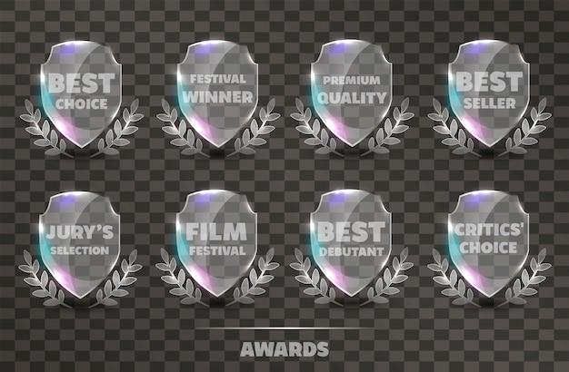 Conjunto de prêmios de troféu de vidro vetor realista.