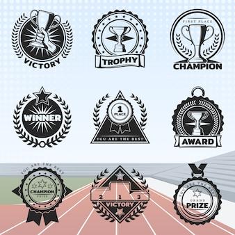 Conjunto de prêmios do esporte vintage