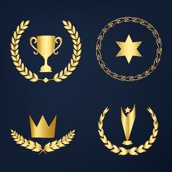 Conjunto de prêmios e emblemas vector