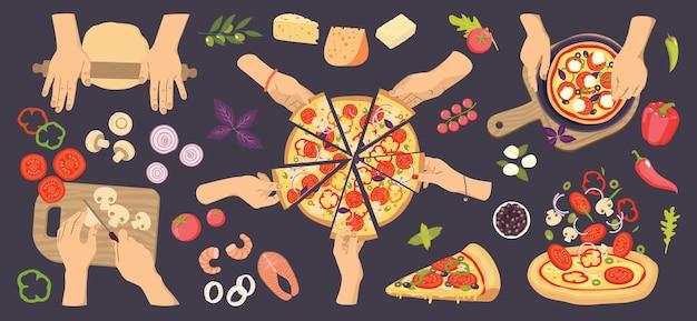Conjunto de preparação de pizza, mãos, placa, fatias, ingredientes.