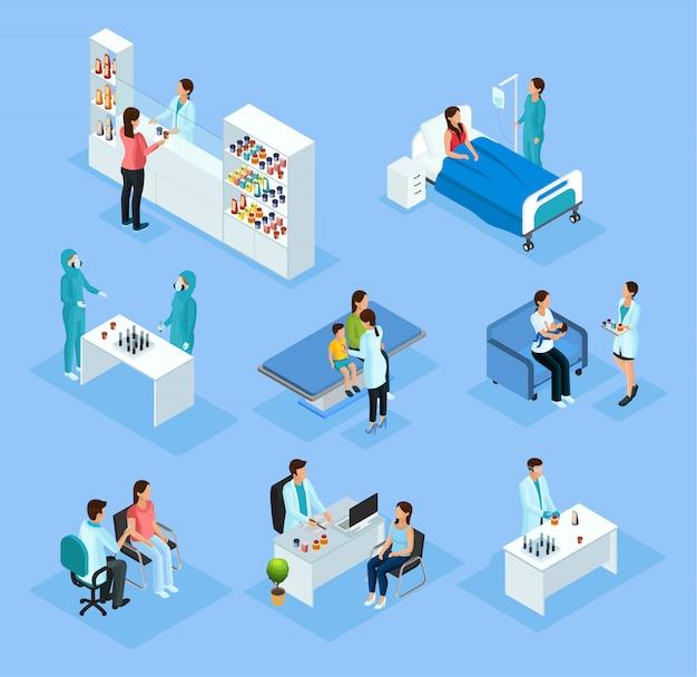 Conjunto de preparação e tratamento médico isométrico