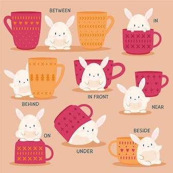 Conjunto de preposição em inglês para crianças com coelho