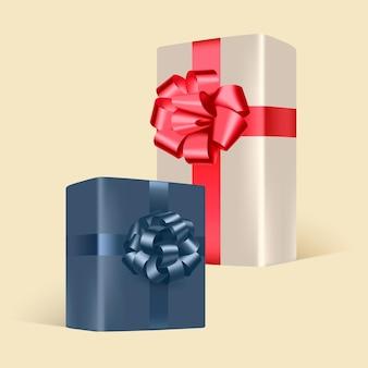 Conjunto de presentes com laços vermelhos e azuis