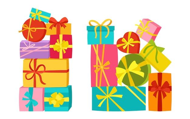 Conjunto de presentes de aniversário de fita com pilha de caixa de presente
