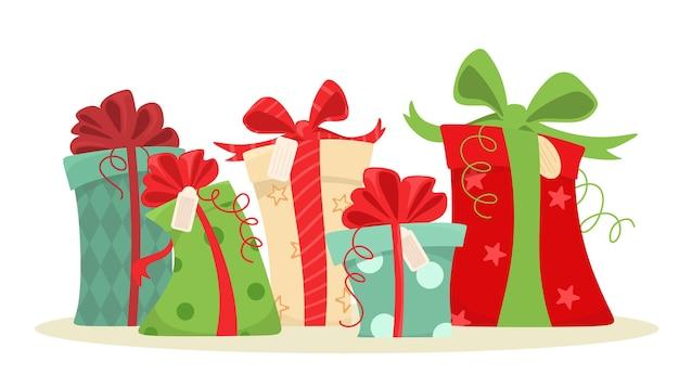 Conjunto de presentes de natal. caixas de presente com ilustração de fitas em estilo simples.