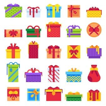 Conjunto de presentes de natal plana