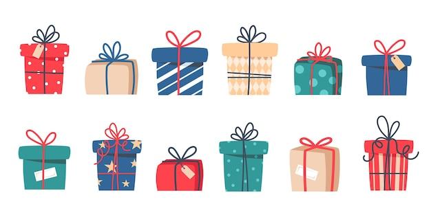 Conjunto de presentes de natal, presentes de ano novo, caixas de presente com fitas