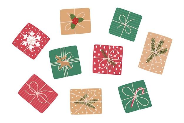 Conjunto de presentes de natal, vista de cima