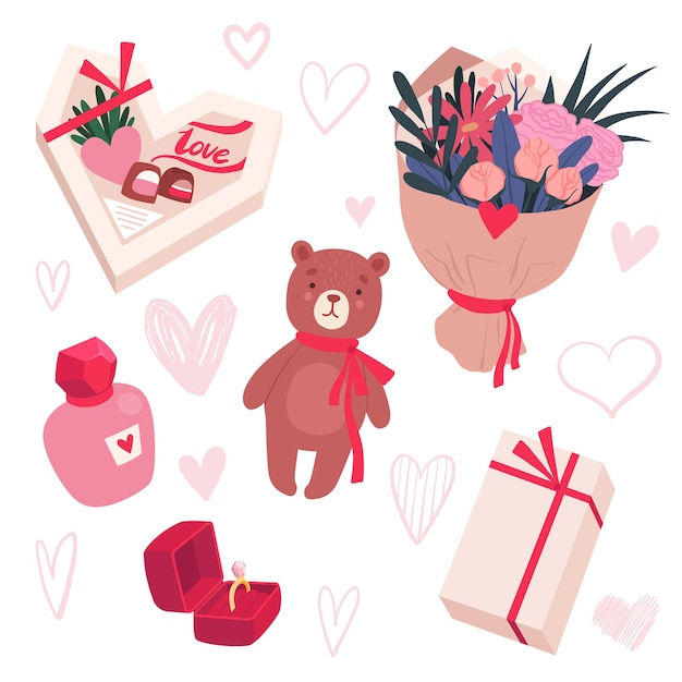 Conjunto de presentes para o dia dos namorados