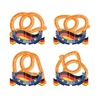 Conjunto de pretzels com celebração de oktoberfest de bandeiras da alemanha