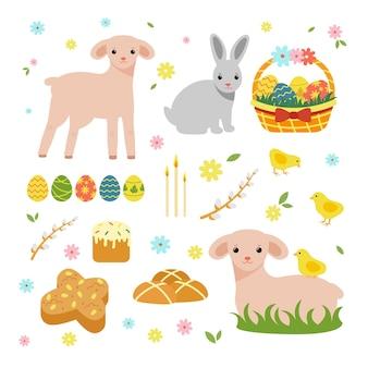Conjunto de primavera de páscoa. ovelha fofa, coelhos, ovos, salgueiro, bolos