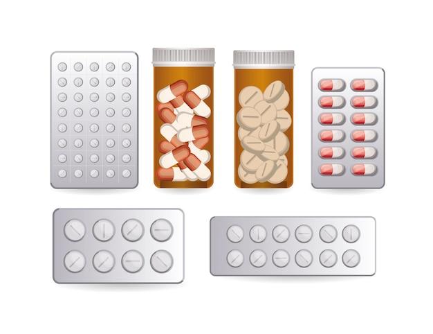 Conjunto de primeiros ícones de gráfico de pílulas aid na ilustração branca