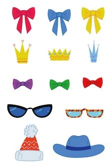 Conjunto de princesa coroas chapéu óculos coração arco fita decoração isolada em branco