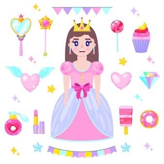 Conjunto de princesa dos desenhos animados no vestido rosa e seus acessórios