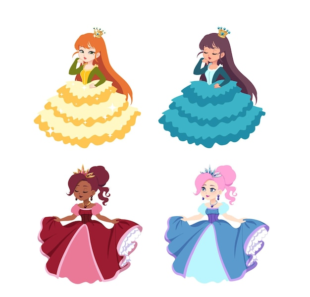 Conjunto de princesas bonito dos desenhos animados.