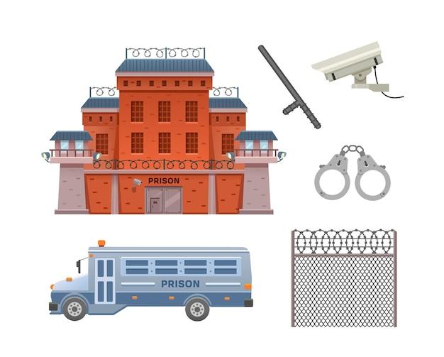 Conjunto de prisão edifício prisão ônibus prisão algemas câmera de vigilância bastão de polícia e cerca da prisão