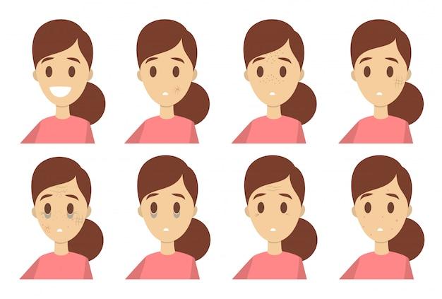 Conjunto de problemas de pele. mulher com más condições de rosto.