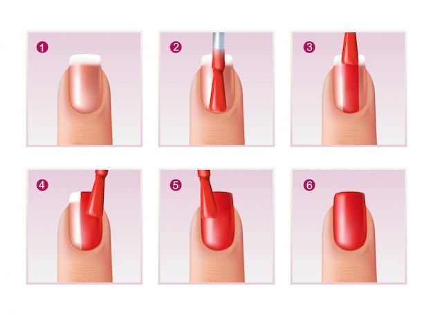 Conjunto de processo de manicure