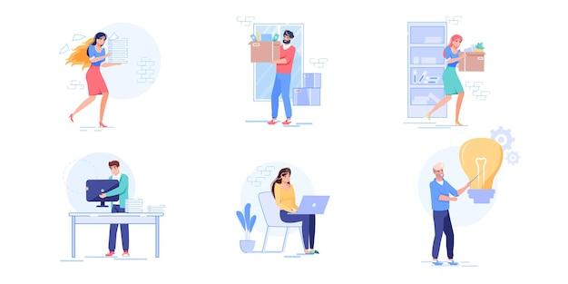 Conjunto de processos de trabalho de personagens de desenhos animados de vetor. funcionários realizam trabalho em excesso em prazos, carregam coisas, trabalham no laptop, pesquisando novo conceito de banner de site de web de fluxo de trabalho de escritório de ideias