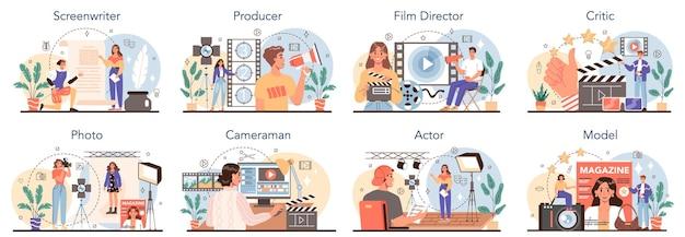 Conjunto de produção de filmes e ocupação do showbusiness. roteirista, produtor