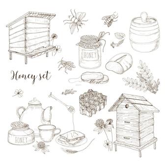 Conjunto de produção de mel, apicultura ou apicultura - favo de mel, colmeias artificiais, concha de madeira, abelhas, bule de chá desenhado à mão em estilo retro em fundo branco. ilustração monocromática do vetor.