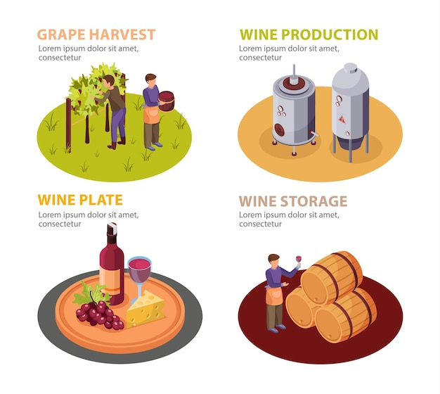 Conjunto de produção de vinho com prato de vinho e elementos de armazenamento isométricos isolados