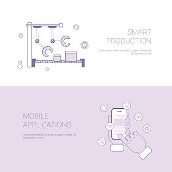 Conjunto de produção inteligente e aplicativo móvel banners conceito de negócio modelo de fundo com ...