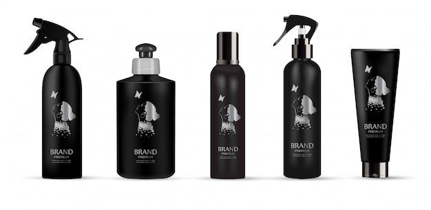 Conjunto de produto cosmético de luxo realista pacote preto