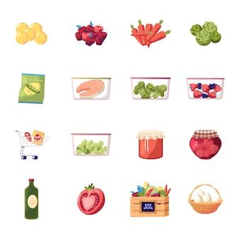 Conjunto de produtos agrícolas, frutas e vegetais frescos