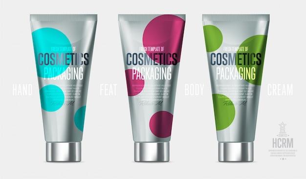 Conjunto de produtos cosméticos de cuidados diários de beleza realista