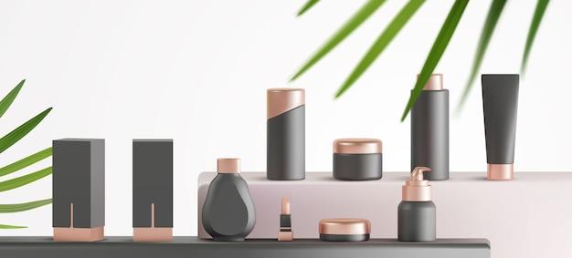Conjunto de produtos cosméticos de luxo realistas