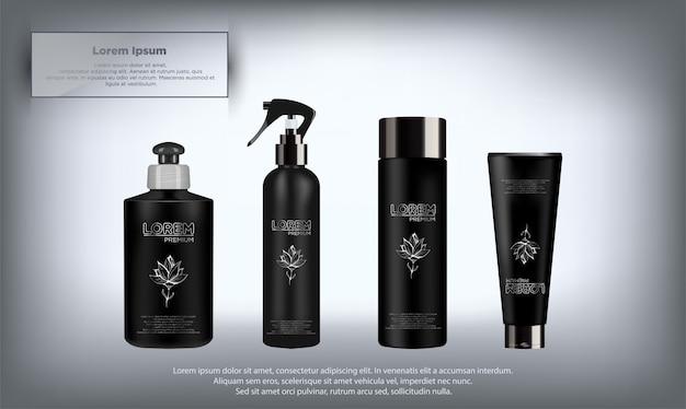 Conjunto de produtos cosméticos de pacote realista