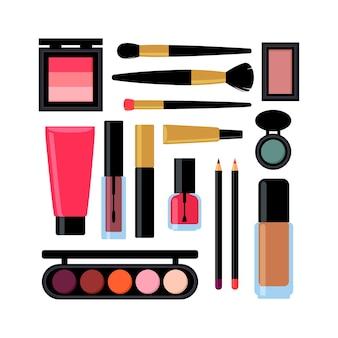 Conjunto de produtos cosméticos diferentes. esmalte para unhas, rímel, batom, sombras, pincel, pó, brilho labial.