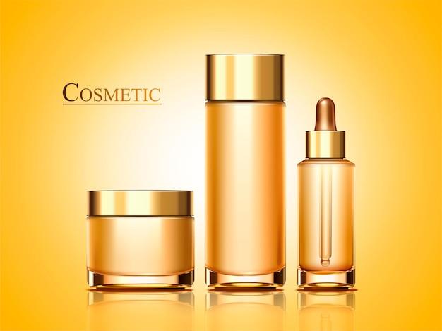 Conjunto de produtos cosméticos em estilo 3d