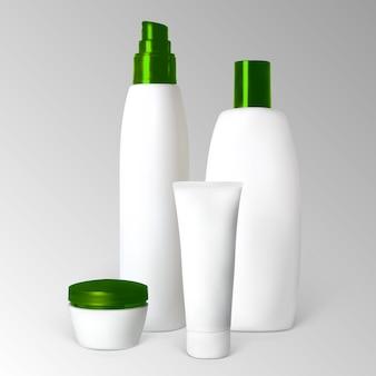 Conjunto de produtos cosméticos em frascos e tubos