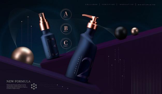 Conjunto de produtos cosméticos. frasco de creme premium para produtos para cuidados com a pele. creme facial de luxo. folheto de anúncios de cosméticos elegante ou banner design.