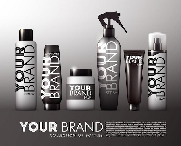 Conjunto de produtos cosméticos para cabelo realista