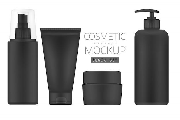 Conjunto de produtos cosméticos pretos