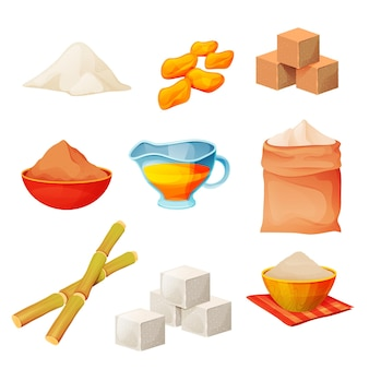 Conjunto de produtos de açúcar