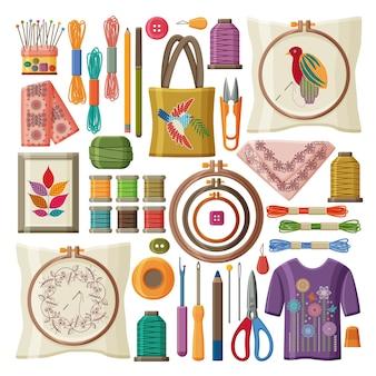 Conjunto de produtos de bordado e ferramentas isoladas no fundo branco.