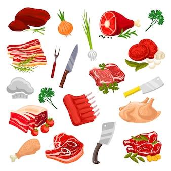 Conjunto de produtos de carne