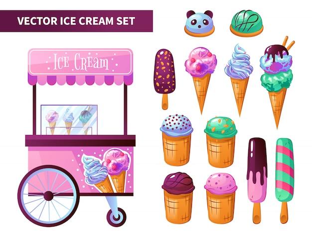 Conjunto de produtos de carrinho de sorvete
